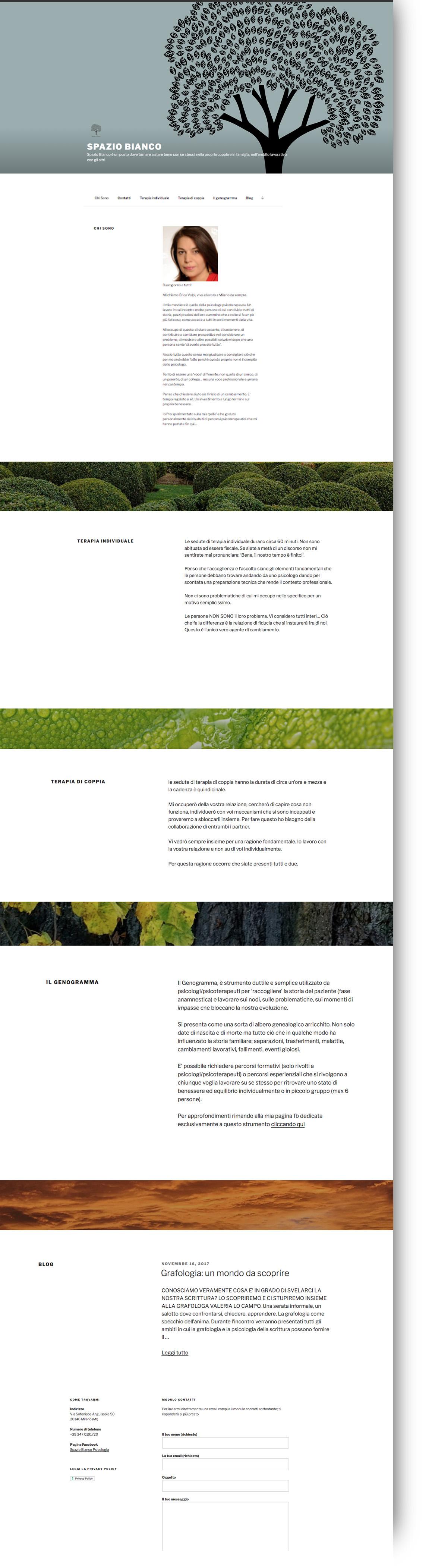 sito web spazio bianco